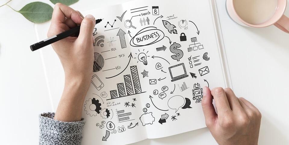 Frau erstellt Businessplan