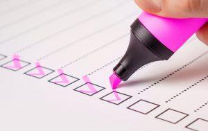 Pinker Marker mit Checkbox