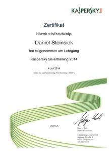 Kaspersky Zertifikat Daniel Steinsiek