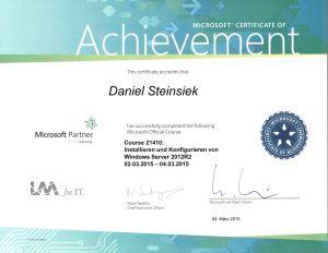 Zertifikat Daniel Steinsiek Microsoft Partner