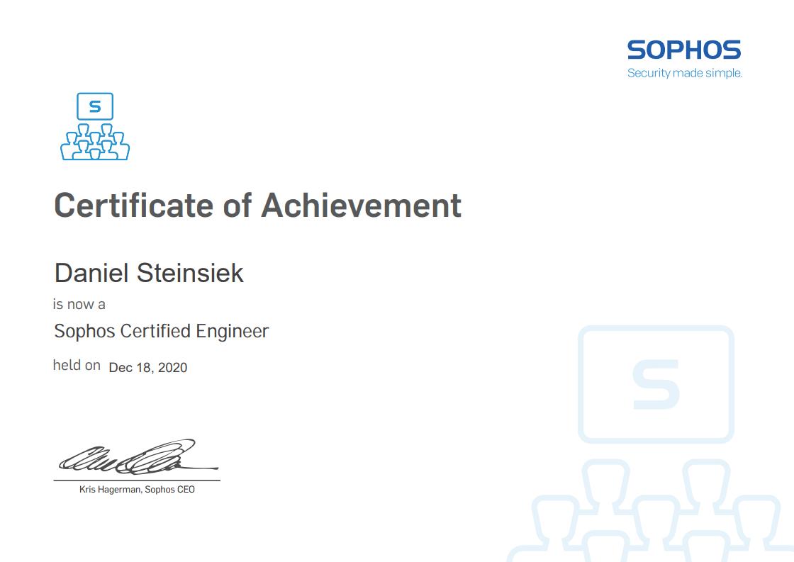 Zertifikat Entwickler Sophos